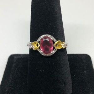 Ruby 925 Silver Filled Decorative Band Ring Size 8